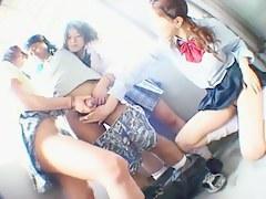 Cosplay Porn: 3 School Girls affixing 1