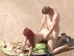 Voyeur Spying Web Camera Caught Redhead Woman Fucking on Margin