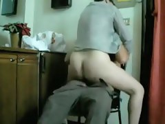 Wife perfectly riding her husbands strapon
