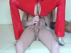 German ass impailed in leather pants