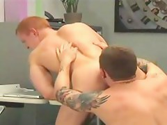 Hunky gay redhead sucked coupled with fucked by hottie