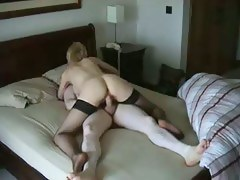 Cheating Blonde Wife Riding BF's Dick surpassing Close-mouthed Cam