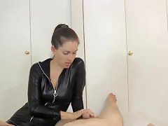 Catsuit Gloves Joshing Denial Handjob