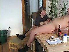 Granny Gives A Irrumation In the first place The Kitchenette Table
