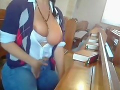 Dilettante - Exhibition - Large Boob Brunette Hair Dildos in Church
