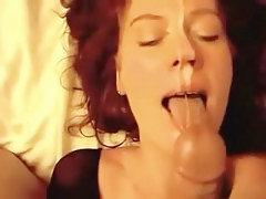 Redhead dilettante wife acquires home facial jizz go about on blear scene