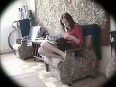 Masturbating in the crowded room (Hidden webcam)