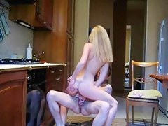 Sexy kitchen fuck with skinny constricted blond
