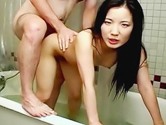 Slim Asian wife bathroom sexual congress tape