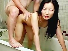 Slim Asian wife bathroom sexual congress tape