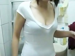 Chinese girl engulfing ramrod in public washroom