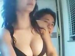 Busty Asian sucked my rod on webcam