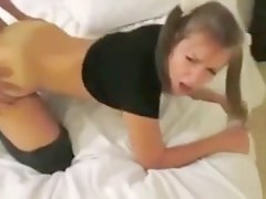 Slutty Amber Takes Two Dicks