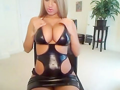 Hot blond hotty nigh large milk sacks chiefly webbing camera showing stripped and effectuation