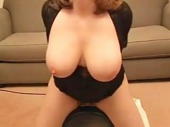 Busty wife mounts a sybian machine