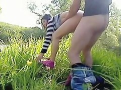 Bent over and drilled outdoors