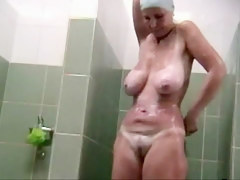 Hidden voyeur spy camera adult full-grown spied in shower taking a neaten