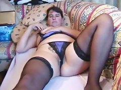 Chunky MILF masturbates relating to orgasm