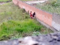 Teen couple caught making out outside
