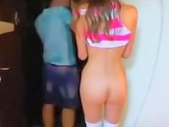 2 teenager babes flashing chum around with annoy shy pizza dude