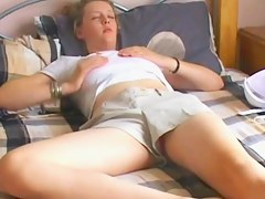 Golden-Haired digs alone orgasms