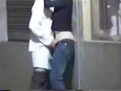 Couple making outside in the public