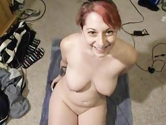 Redhead gives oral pleasure, swallows plus licks her chops