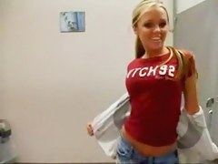 Hot blond shows her goodies