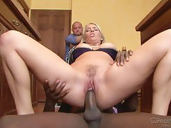 Milf with hairy cunt is jammed by a hard ebony member