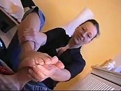 best german milf giving shoejob footjob