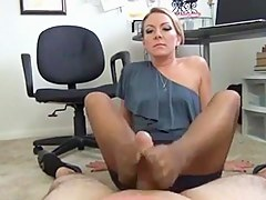 Remarkable handjob and footjob my blonde milf