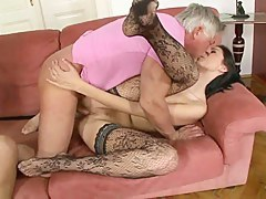 Mature man fucks two babes