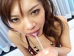 Sexy Japanese slut gets banged by 2 horny men