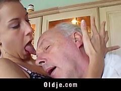 Brunette licks grandpa s sere skin plus fucks him