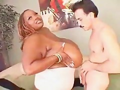 Huge Black BBW Gets White Cock