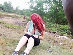Hot, busty redhead stuffed approximately black cock outdoors