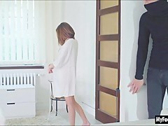 Prexy Euro coddle Tracy gets a surprise as she and her lover role play