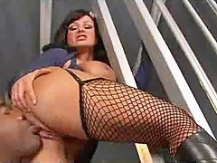 Lisa Ann rides coupled with sucks a fat black cock