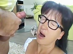 Busty german MILF with glasses doggystyle and facial