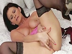 Horny granny fingering her old twat