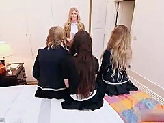 Three European schoolgirl sluts licking together with dildoing