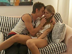 Megan in deep throat blowjob given by a error-free chick