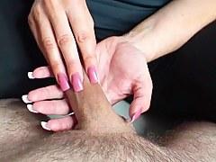 pink tickling nails