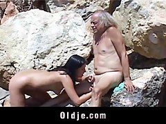 Deviant young brunette loves to suck flaccid old dick