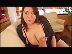 Japanese BBW Gives Downcast Titfuck