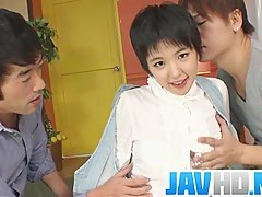 Insolent Japanese beauty gets ready to fuck regarding two guys