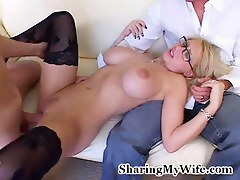 Busty blonde wife just about stockings just about group fun