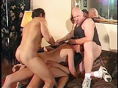 Lena receives double penetration drilled and creamed in FMMM foursome in an obstacle ottoman