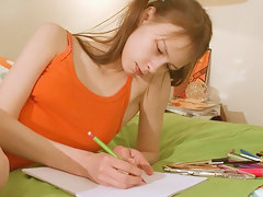 Nasty homework of fashionable teenager