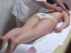 Asian mademoiselle stretching legs for hot nub massage on voyeur porn